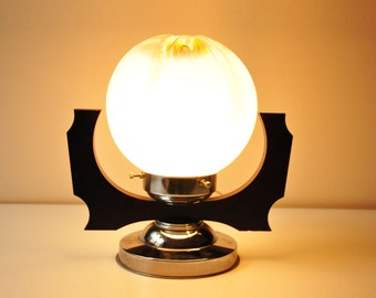 Vintage White Glass Table Desk Lamp - Bedside Lamp