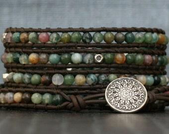 wrap bracelet- fancy jasper and silver on black brown leather