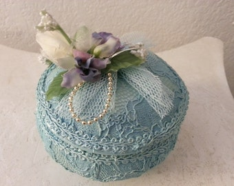 Blue Lace Jewelry Box with Wind Up Music