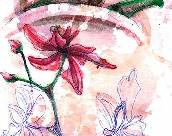 "Fine Art Winecolor Painting ""Shiraz Orchids II"""