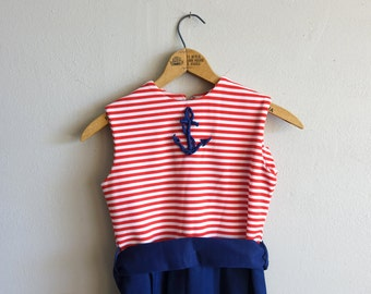 Vintage Nautical Girls Dress Striped Anchor Red White and Blue