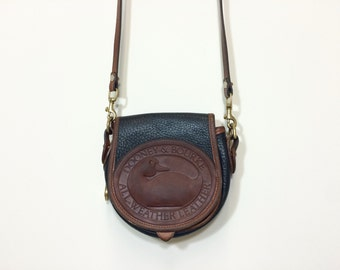 vintage 1990s Dooney and Bourke Big Duck crossbody pebbled leather purse handbag pocketbook in navy