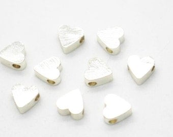 12 pcs of 6mm heart beads with 1.5mm hole -silver