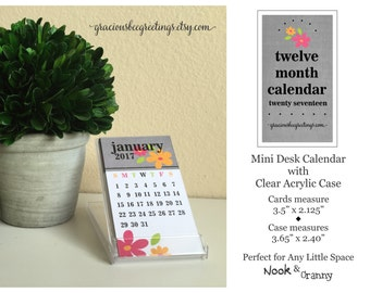 SALE ITEM 2017 Calendar, Mini Desk Calendar, Floral Calendar