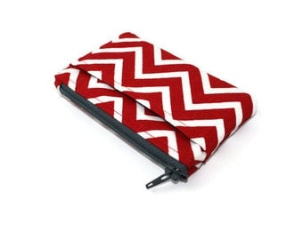Red and White Chevron Coin Purse / Zip pouch / Change Purse / Business Card Holder / Wallet