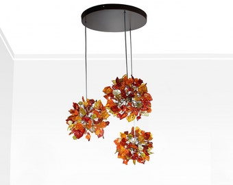 Triple Pendant Light with warm color flowers and leaves, ceiling lighting round shape for Kitchen Island, Dinning Room Autumn color.