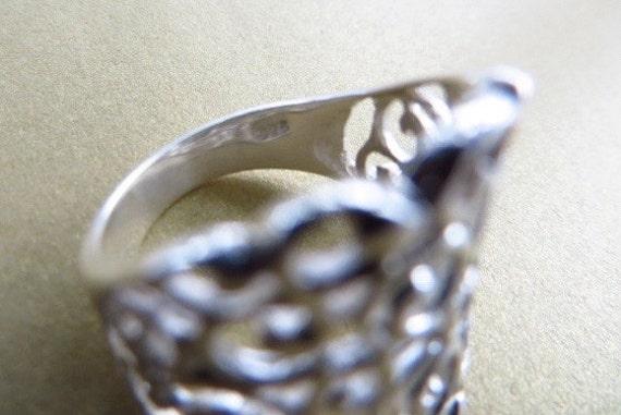 Sterling Filigree Ring Vintage, Openwork Silver Size 6 Ring