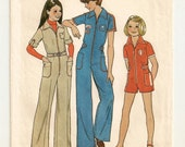 "A Long or Short, Front Zip, Pointed Collar, Short Sleeve Jumpsuit Pattern: Girls Size 10, Breast 28-1/2"" • Simplicity 7594"
