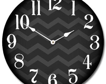 Chevron Black Wall Clock