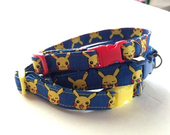 New! Cat collar with Pokemon fabric. Team colors