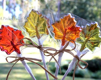12 Fall Wedding Favors, Fall Wedding Decor, Maple Leaf, FALL LEAVES, Fall Bridal Shower, Barley Sugar Pops, Wedding Favors, Lollipop Favors