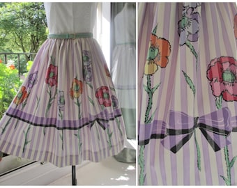 1950s Skirt 50s Full Skirt Novelty Print 1940s Skirt Floral Purple Striped Skirt Ribbon and Bow Print by Tabak S / M