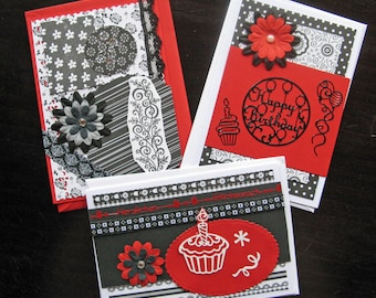 Set 3: Greeting Cards Set of 3 - Black/White/Red - Congratulations Cards, Birthday Cards, Blank Cards, hand-crafted