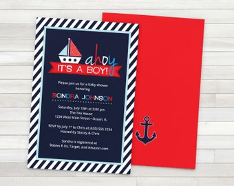 Nautical Baby Shower Invitation - Printable - Red