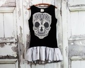 Sugar Skull Goth Black Velvet Dress Halloween Dress Dark Fairy Dress Upcycled Clothing Emo Style