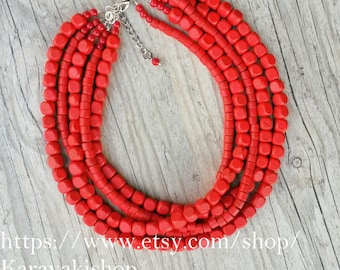 Chunky statement red necklace, Red wedding,Red beaded necklace bridesmaid gift, Red wooden chunky wedding necklace, Red wedding jewelry