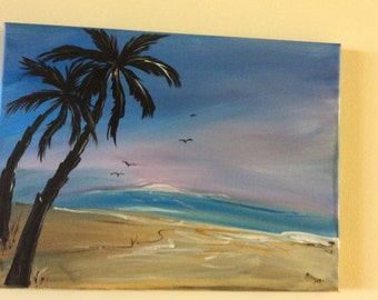 Palm Trees at Sunrise 9 X 12 acrylic on canvas, unframed