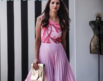 Vintage dress  Alfred Shaheen dress one shoulder dress  asymmetrical dress pink dress 1960s dress summer dress,vintage hawaii dress