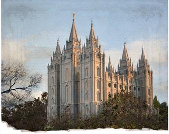 16x20 Digital File, Salt Lake City Utah Temple,  Aged Color, INSTANT DOWNLOAD