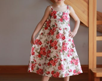 Flower girl linen dress floral dress special occasion birthday wedding baby party Sale Item Ready to Wear Size 6T-7T