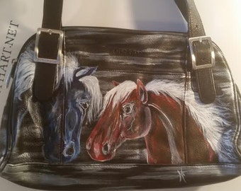 Red, White & Blue Hand Painted Horse Purse