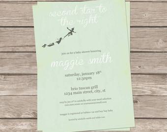 DIY Printable Vintage Peter Pan Shower Invitation