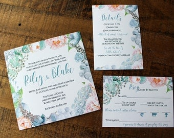 Blush Pink and Dusty Blue Watercolor Floral Wedding Invitations: DCo Lovenotes