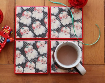 Christmas Coasters // Red Christmas Decor // Santa Decor // Christmas Drinkware // Stocking Stuffer // Christmas Party Decor