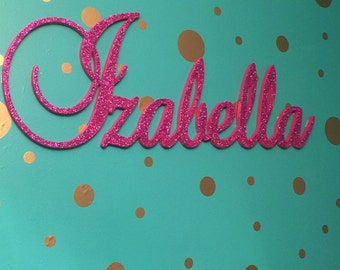 GLITTERED Custom Wooden Name Sign - Nursery Name Plaque