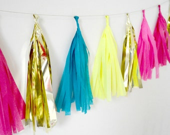 Bright Pink, Teal, Yellow and Gold Tissue Tassel Garland - One Stylish Party