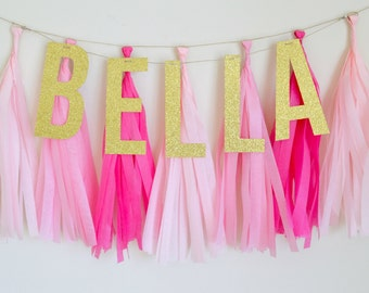 Shades of Pink Glitter Tassel Banner - One Stylish Party