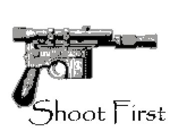 Cross stitch pattern - star wars han solo blaster shoot first