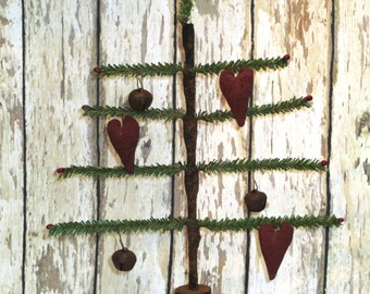 Primitive Faux Single Feather Tree with primitive valentine hearts