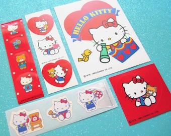 Vintage 1980's SANRIO Hello Kitty Stickers Lot