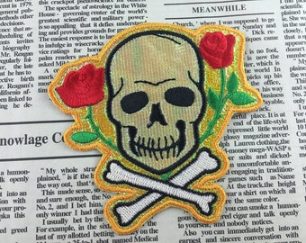 Skull Iron on Patch Embroidery Flower Appliques