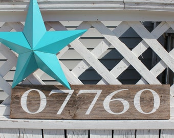 Reclaimed Wood Sign with Zip Code