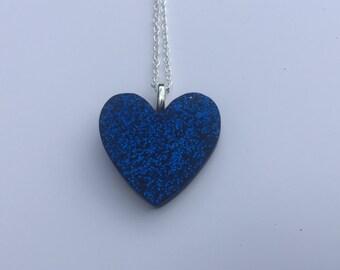 Dark Blue Glitter Resin Heart Pendant and Chain