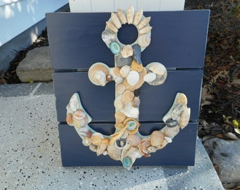 Handmade wooden sea shell wall hanging / beach decor / nautical decor