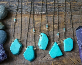 ONE-OF-A-KIND // Organic Turquoise Slab Slice, Crystal beaded chain, 26 Inch Necklace, Chakra Moonchild Necklace