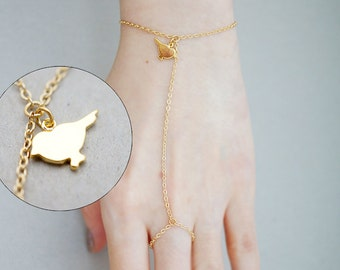 Sparrow Charm, Simple Minimal Minimalist, Gladiators Bracelet Hand Bracelet Finger Bracelet Slave Bracelet
