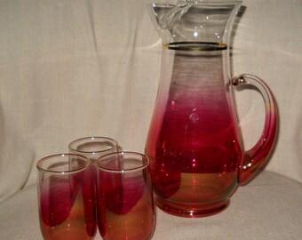 Blendo West Virginia Glass Co Juice Set in Cranberry