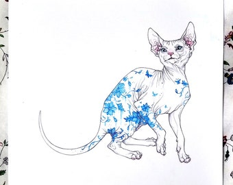 Original illustration Porcelain Sphynx