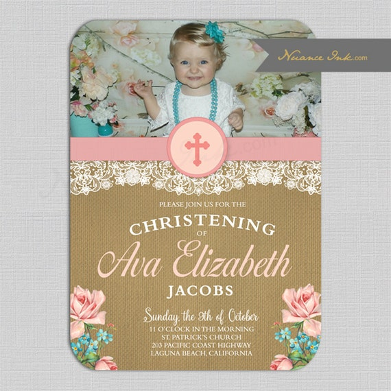 Burlap and Lace  Christening Invitations, vintage roses, baptism, religious ceremony, photo, rustic, chic