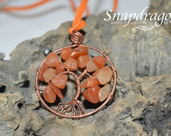 Red Adventirine and copper tree of life pendant