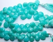 8 Inch Strand,Finest Quality Natural AMAZONITE Faceted Heart Shape 9-10mm Size