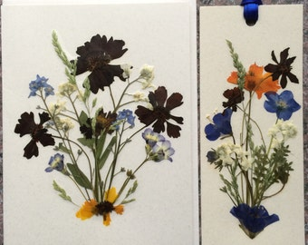 Set of 1 Pressed Flower Bookmark and 1 Card made with beautiful Montana grown flowers.