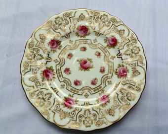 "Pair Cauldon England Porcelain Plates, ROSES Drenched In Gold, For Davis Collamore & Co  Fifth Ave c 1910, Fine Antique China 9"" Plates"