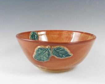 Pottery serving bowl - leaf serving bowl - small bowl - ceramic serving bowl - serveware - amber bowl - serving dish - shino bowl B105