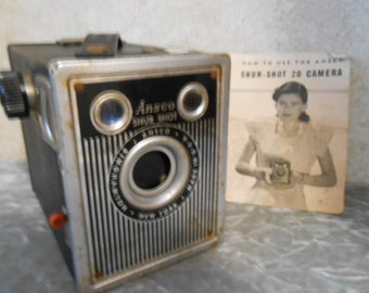 Early 1948 Ansco Shur-Shot 20 Camera with Original Instruction Pamphlet