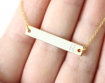 Initial bar necklace - Gold initial stamped necklace - personalized necklace - Gold initial bar necklace
